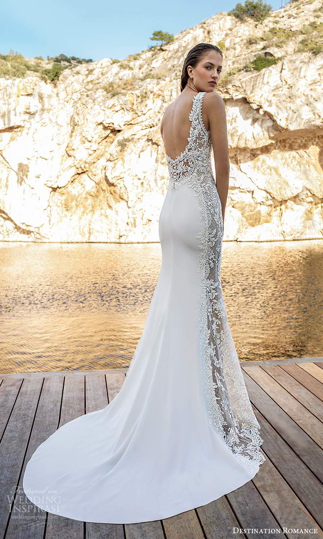 destination romance 2020 bridal sleeveless straps plunging v neckline embellished bodice sheath wedding dress scoop back chapel train (1) bv