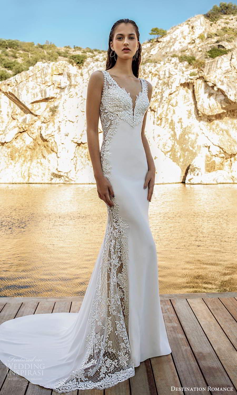 destination romance 2020 bridal sleeveless straps plunging v neckline embellished bodice sheath wedding dress scoop back chapel train (1) mv