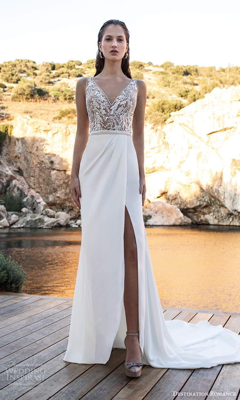 destination romance 2020 bridal sleeveless straps v neckline embellished bodice column wedding dress slit skirt chapel train (16) mv