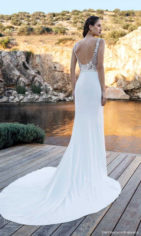 destination romance 2020 bridal sleeveless straps v neckline embellished bodice column wedding dress slit skirt chapel train scoop train (16) bv