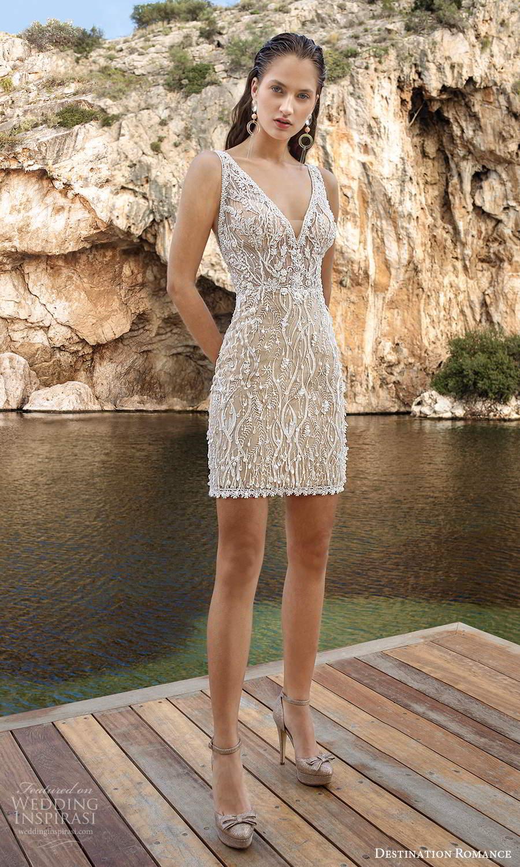 destination romance 2020 bridal sleeveless straps v neckline fully embellished mini wedding dress champagne (11) mv