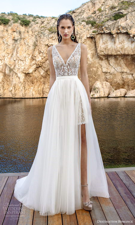 destination romance 2020 bridal sleeveless straps v neckline fully embellished mini wedding dress champagne a line overskirt (11) mv