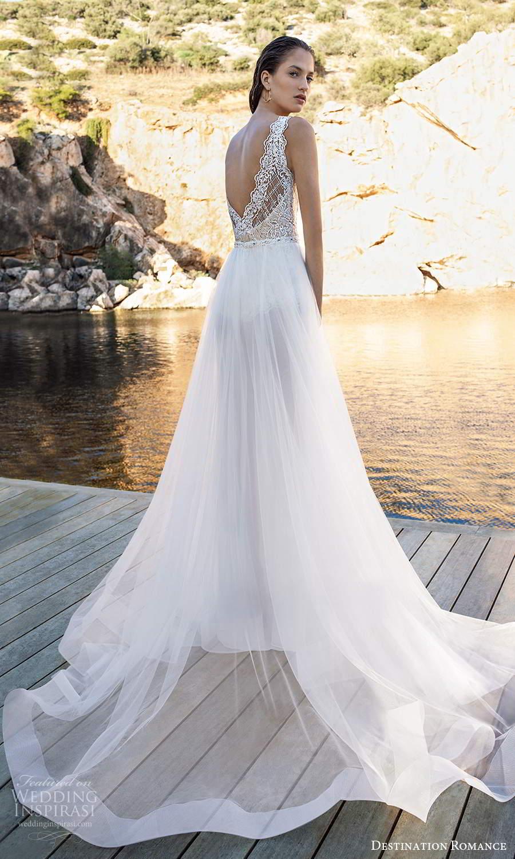 destination romance 2020 bridal sleeveless thick straps v neckline emebllished lace bodice bodysuit wedding dress a line overskirt (15) bv