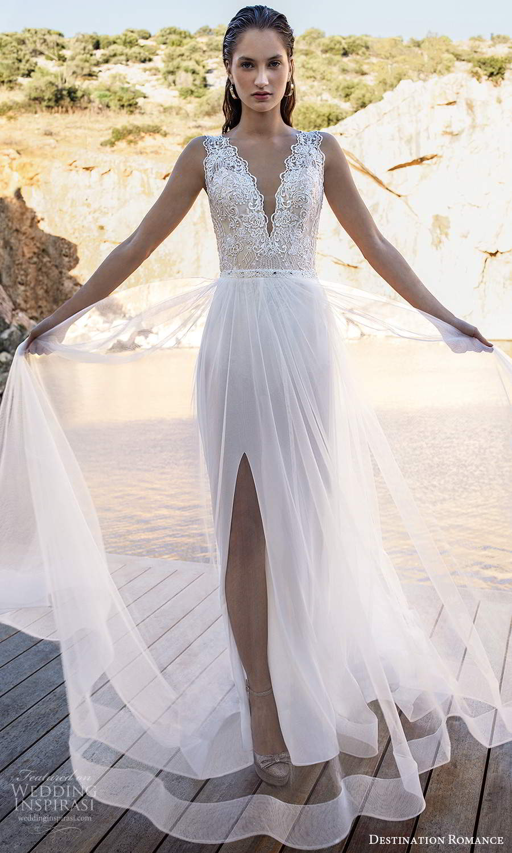destination romance 2020 bridal sleeveless thick straps v neckline emebllished lace bodice bodysuit wedding dress a line overskirt (15) mv