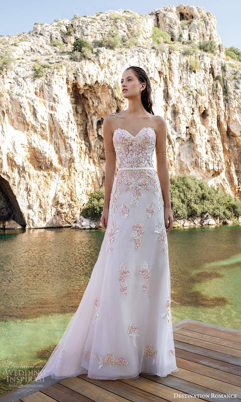 destination romance 2020 bridal strapless sweetheart neckline heavily embellished bodice a line wedding dress blush pink (9) mv