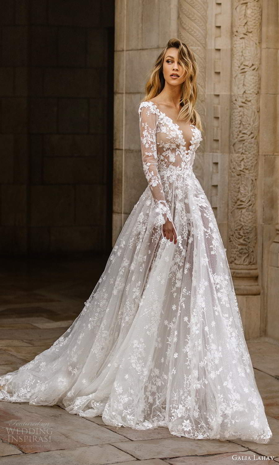 galia lahav fall 2020 gala bridal illusion long sleeves plunging v neckline fully embellished lace a line ball gown wedding dress chapel train (1) mv