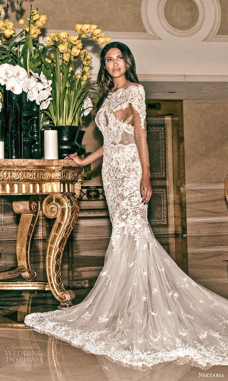 nektaria 2020 bridal illusion long sleeves off shoulder neckline fully embellished lace fit flare mermaid wedding dress chapel train (4) mv