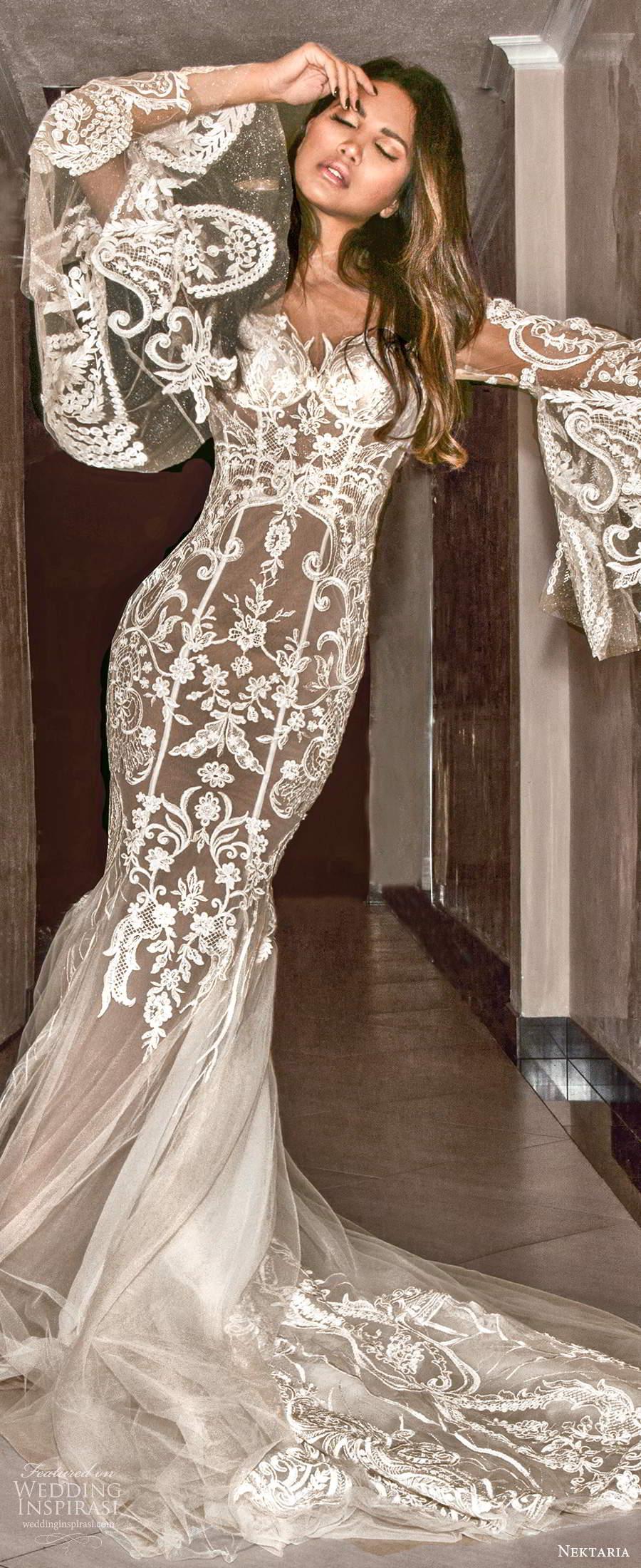 nektaria 2020 bridal long flare sleeves sweetheart neckline fit flare mermaid wedding dress chapel train (1) lv