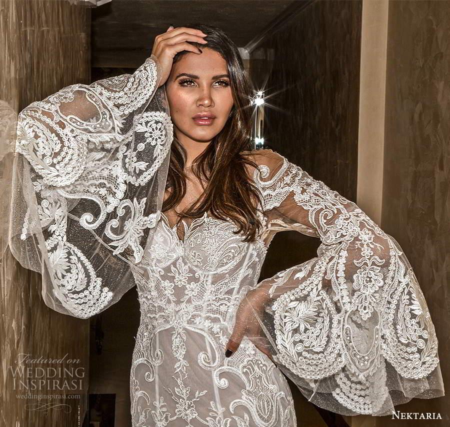 nektaria 2020 bridal long flare sleeves sweetheart neckline fit flare mermaid wedding dress chapel train (1) zv