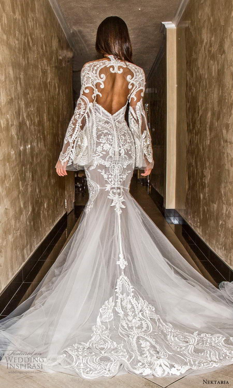 nektaria 2020 bridal long flare sleeves sweetheart neckline fit flare mermaid wedding dress chapel train keyhole back (1) bv