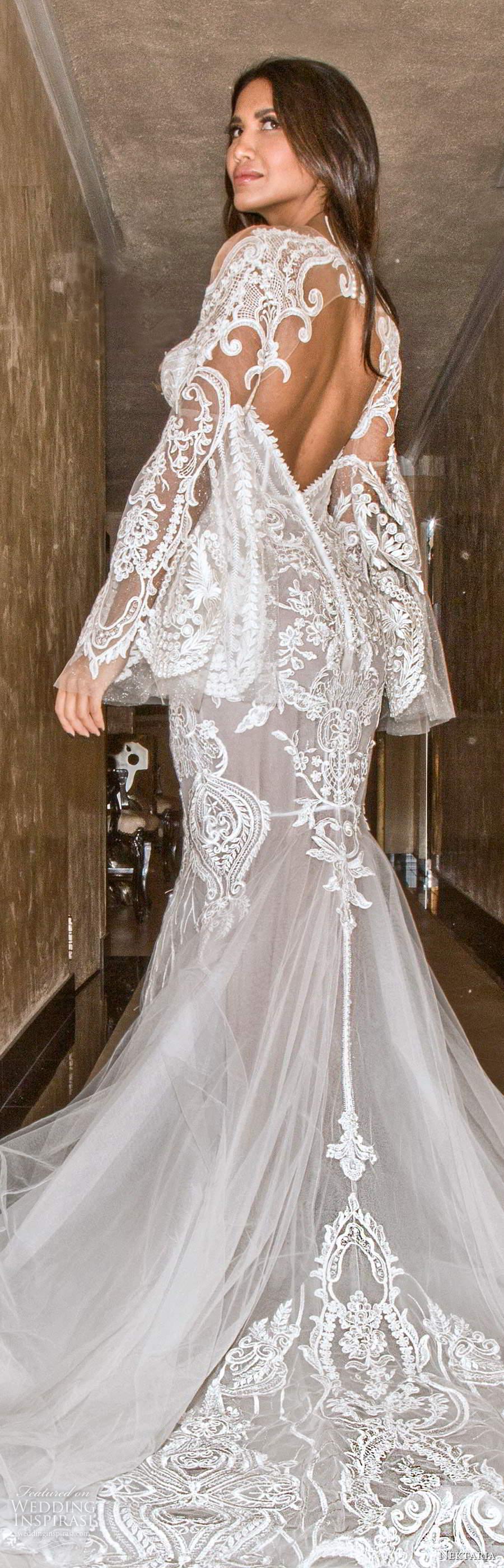 nektaria 2020 bridal long flare sleeves sweetheart neckline fit flare mermaid wedding dress chapel train keyhole back (1) lbv
