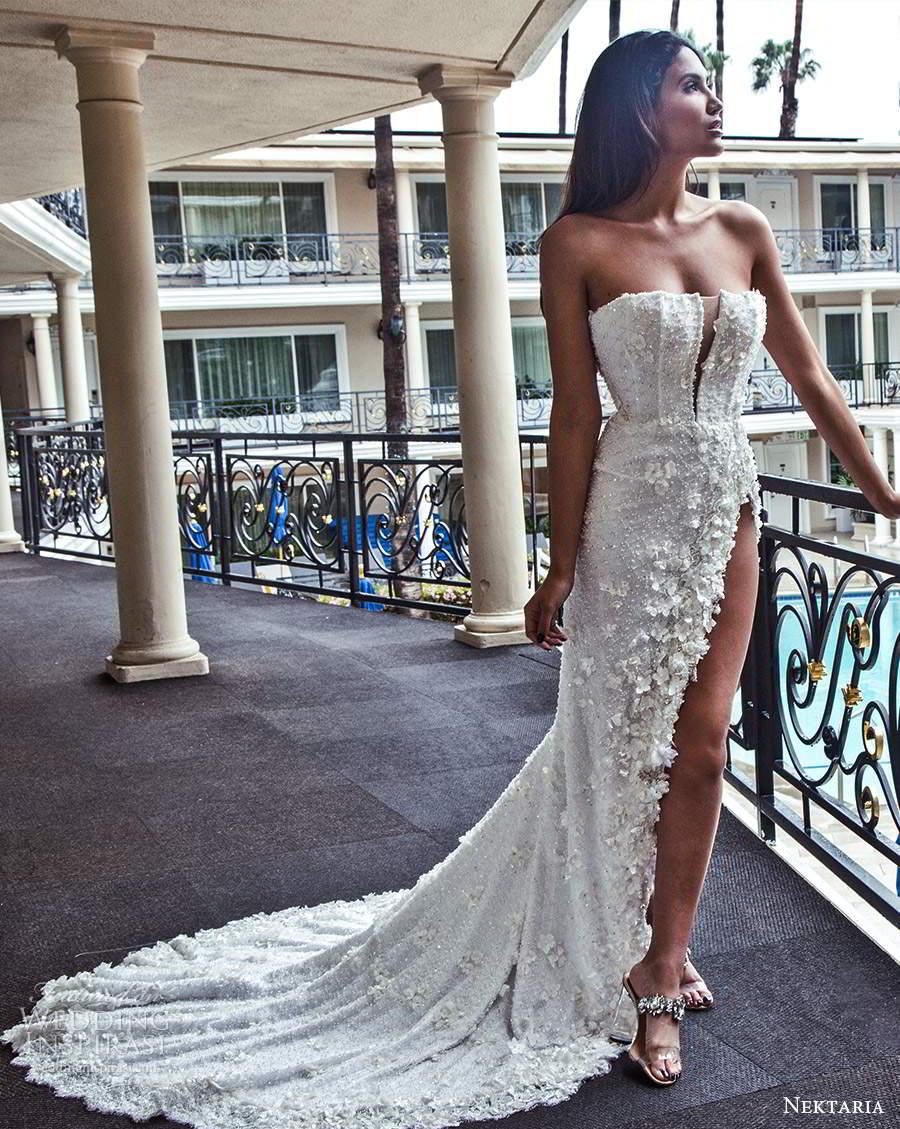 nektaria 2020 bridal strapless straight across neckline fully embellished sheath wedding dress chapel train (5) mv
