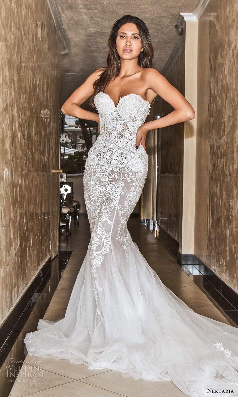 nektaria 2020 bridal strapless sweethart neckline fully embellished mermaid wedding dress chapel train (5) mv