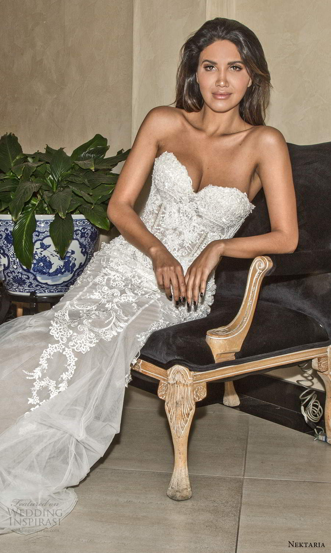 nektaria 2020 bridal strapless sweethart neckline fully embellished mermaid wedding dress chapel train (5) zv