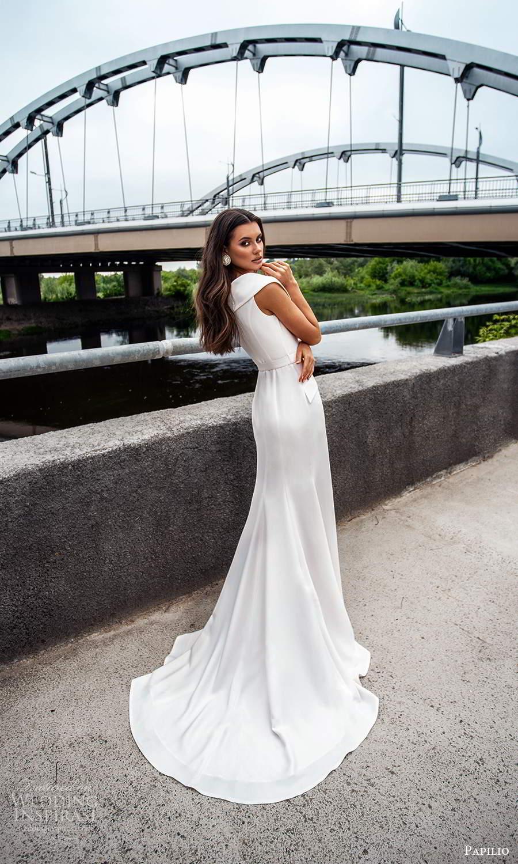 papili 2020 freedom bridal cap sleeves collar v neckline button front a line wedding dress slit skirt (14) bv