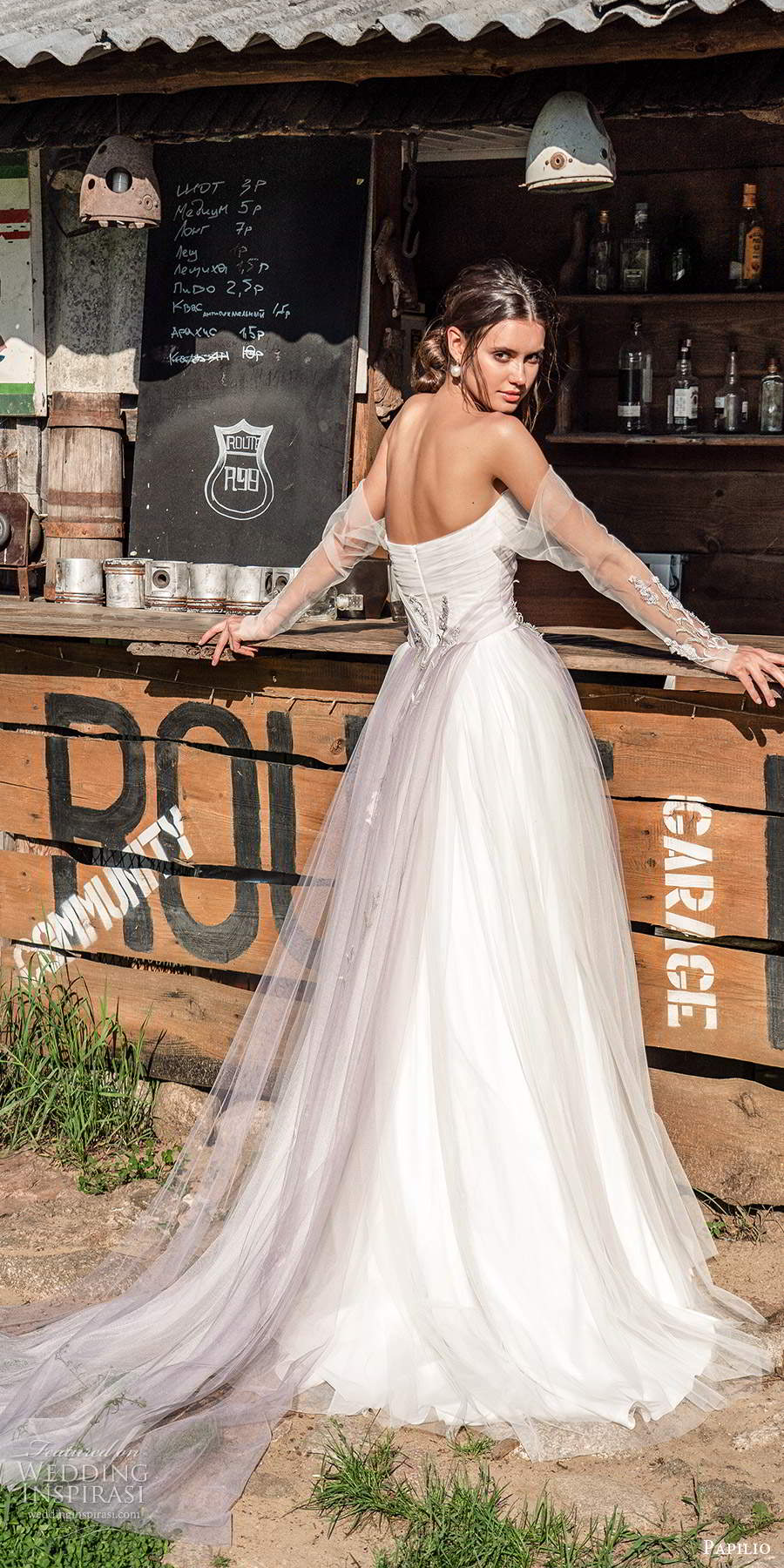 papili 2020 freedom bridal detached sheer long sleeve strapless straight across ruched bodice a line wedding dress (4) bv