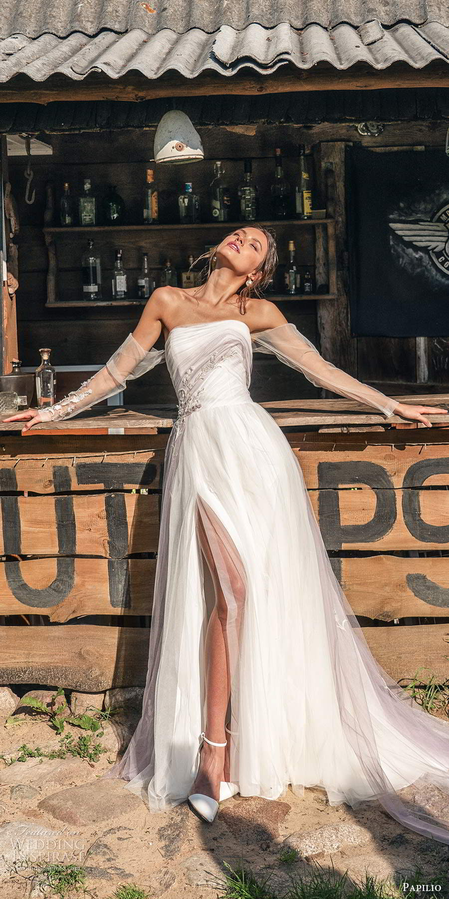 papili 2020 freedom bridal detached sheer long sleeve strapless straight across ruched bodice a line wedding dress (4) mv
