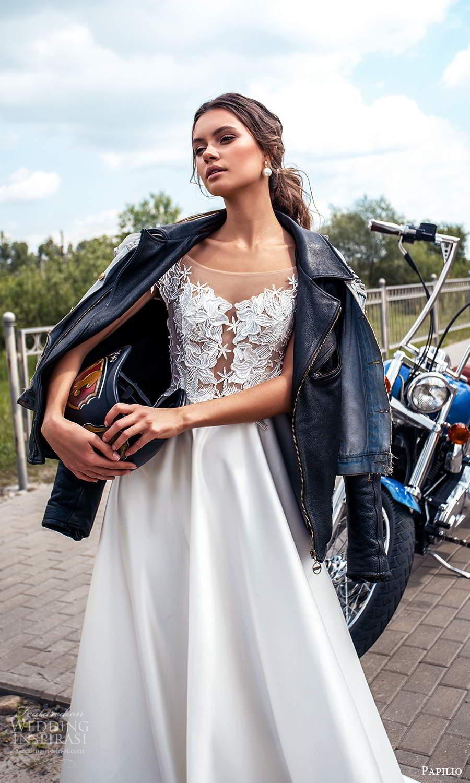 papili 2020 freedom bridal illusion cap sleeves bateau neckline embellished bodice a line ball gown wedding dress (18) zv