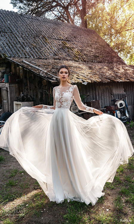 papili 2020 freedom bridal illusion long sleeves sheer bateau neckline a line ball gown wedding dress chapel train (2) fv