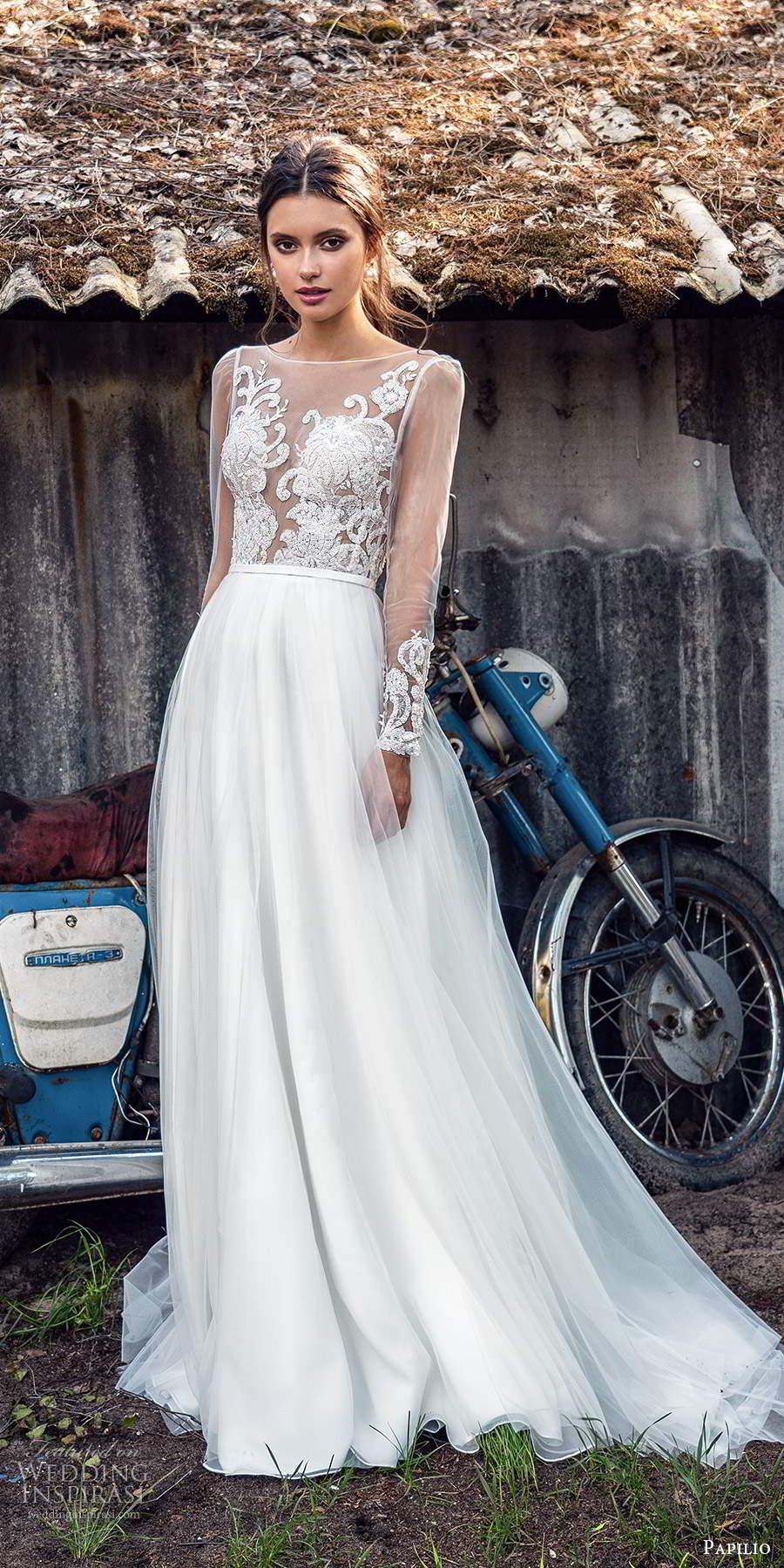 papili 2020 freedom bridal illusion long sleeves sheer bateau neckline a line ball gown wedding dress chapel train (2) mv