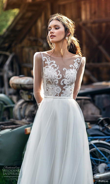 papili 2020 freedom bridal illusion long sleeves sheer bateau neckline a line ball gown wedding dress chapel train (2) zv