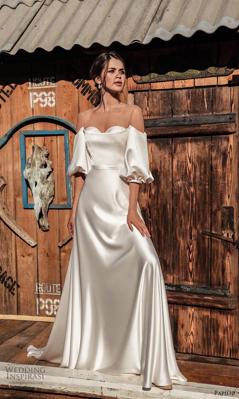 papili 2020 freedom bridal off shoulder elbow length sleeves sweetheart neckline clean minimalist a line wedding dress (6) mv