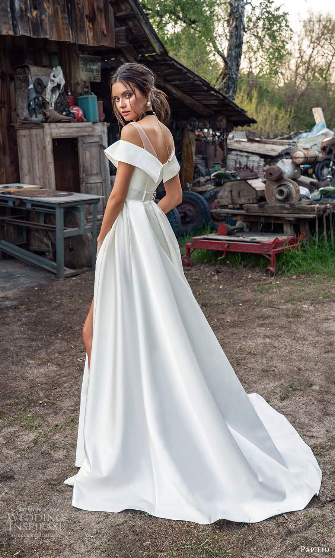 papili 2020 freedom bridal off shoulder sleeves illusion straps clean minimalist a line ball gown wedding dress slit skirt chapel train (1) bv