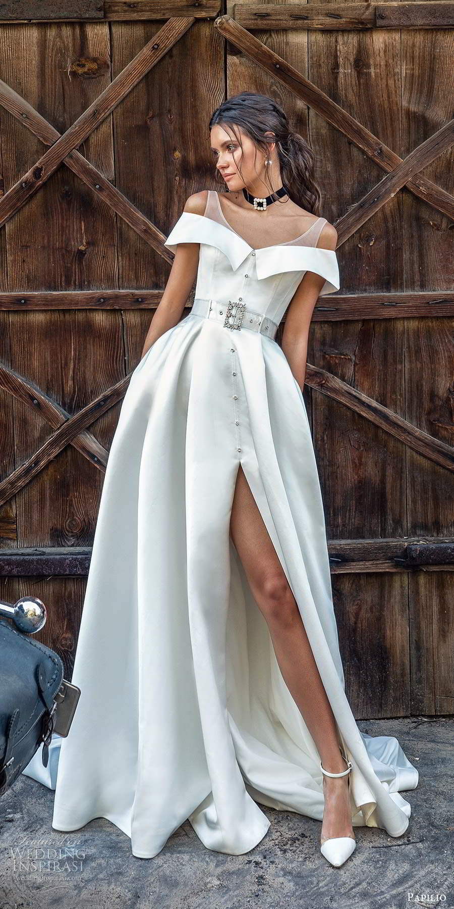 papili 2020 freedom bridal off shoulder sleeves illusion straps clean minimalist a line ball gown wedding dress slit skirt chapel train (1) fv