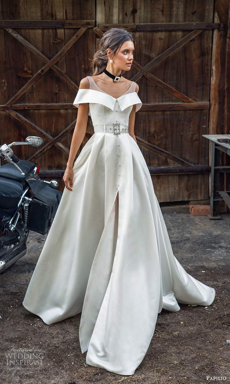 papili 2020 freedom bridal off shoulder sleeves illusion straps clean minimalist a line ball gown wedding dress slit skirt chapel train (1) mv