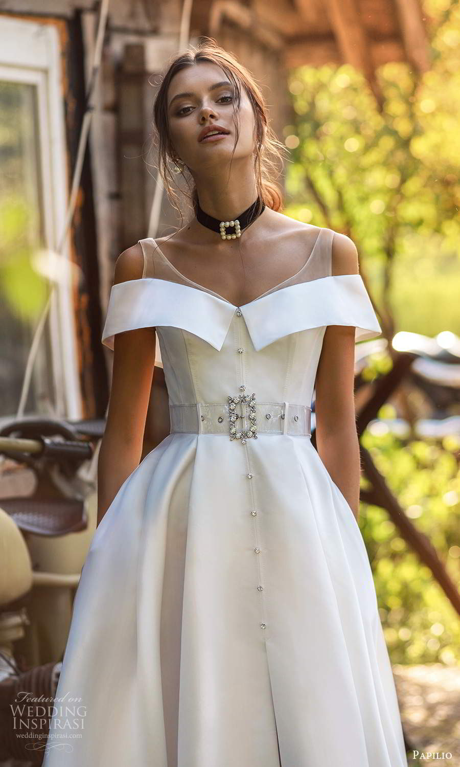 papili 2020 freedom bridal off shoulder sleeves illusion straps clean minimalist a line ball gown wedding dress slit skirt chapel train (1) zv