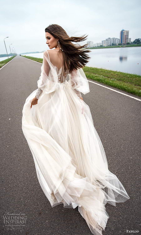 papili 2020 freedom bridal sheer long bishop sleeves illusion sweethaert neckline embellished bodice a line ball gown wedding dress chapel train (10) bv