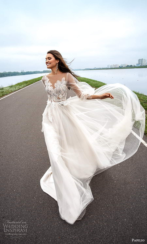 papili 2020 freedom bridal sheer long bishop sleeves illusion sweethaert neckline embellished bodice a line ball gown wedding dress chapel train (10) mv