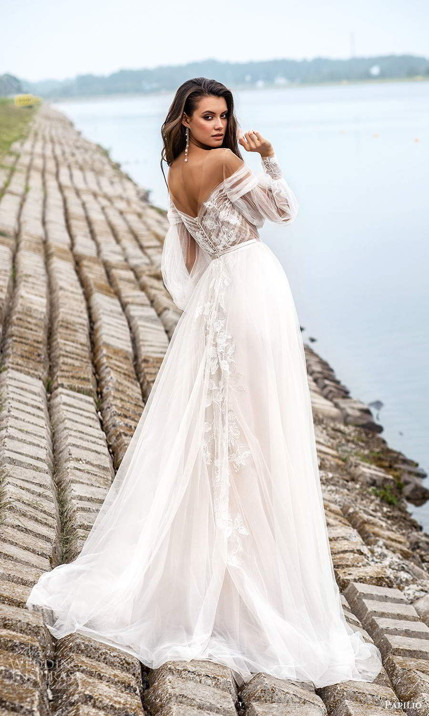 papili 2020 freedom bridal sheer long bishop sleeves illusion sweethaert neckline embellished bodice a line ball gown wedding dress chapel train (9) bv