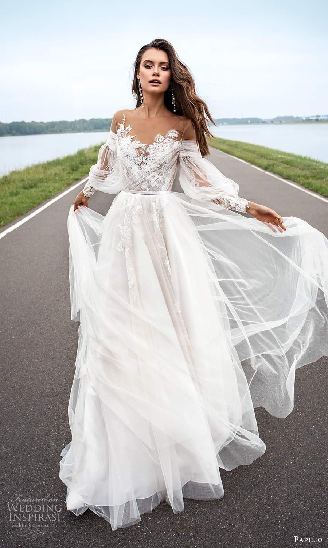 papili 2020 freedom bridal sheer long bishop sleeves illusion sweethaert neckline embellished bodice a line ball gown wedding dress chapel train (9) mv