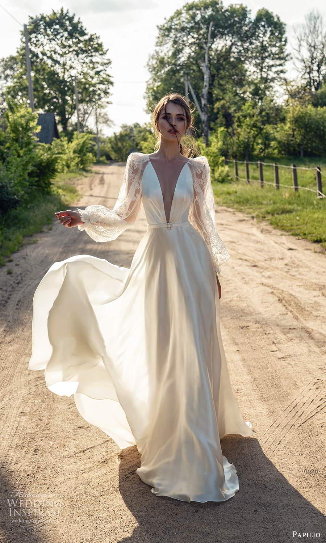 papili 2020 freedom bridal sheer long bishop sleeves plunging v neckline a line wedding dress (8) mv