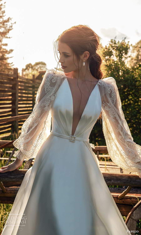 papili 2020 freedom bridal sheer long bishop sleeves plunging v neckline a line wedding dress (8) zv