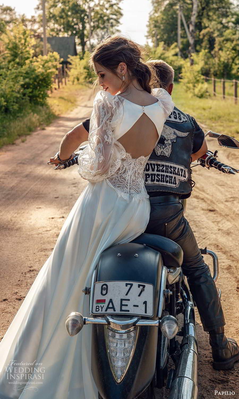 papili 2020 freedom bridal sheer long bishop sleeves plunging v neckline a line wedding dress keyhole back (8) bv