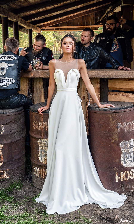 papili 2020 freedom bridal sleeveless illusion straps sweetheart necklnie clean minimalist a line ball gown wedding dress chapel train (3) mv