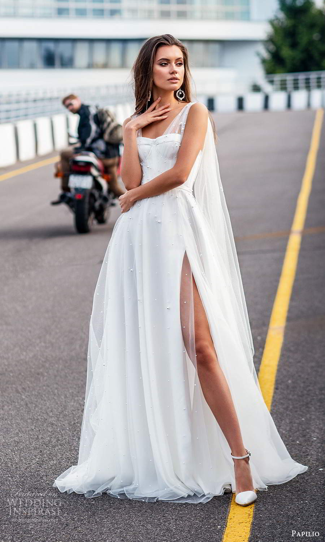 papili 2020 freedom bridal sleeveless ruched straps semi sweetheart neckline a line ball gown wedding dress slit skirt (17) mv