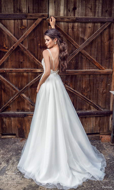 papili 2020 freedom bridal sleeveless straps v neckline embellished bodice a line ball gown wedding dress chapel train (5) bv
