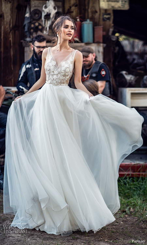 papili 2020 freedom bridal sleeveless straps v neckline embellished bodice a line ball gown wedding dress chapel train (5) mv