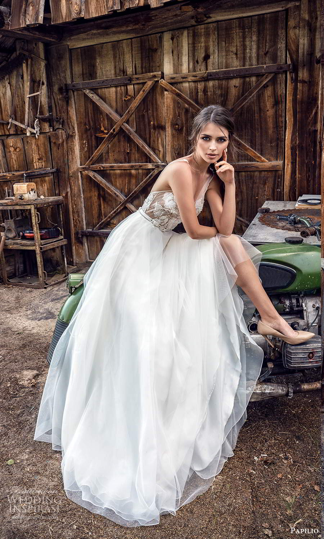 papili 2020 freedom bridal sleeveless straps v neckline embellished bodice a line ball gown wedding dress chapel train (5) zv