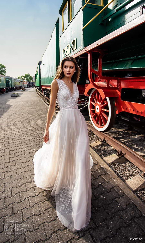 papili 2020 freedom bridal sleeveless thick straps v neckline ruched bodice a line ball gown wedding dress chapel train (15) mv