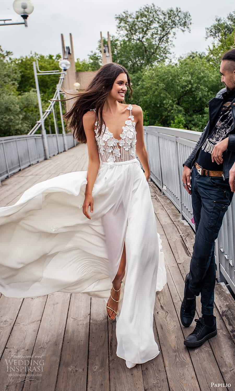 papili 2020 freedom bridal sleeveless thin straps v neckline embellished bodice a line ball gown wedding dress chapel train (16) fv