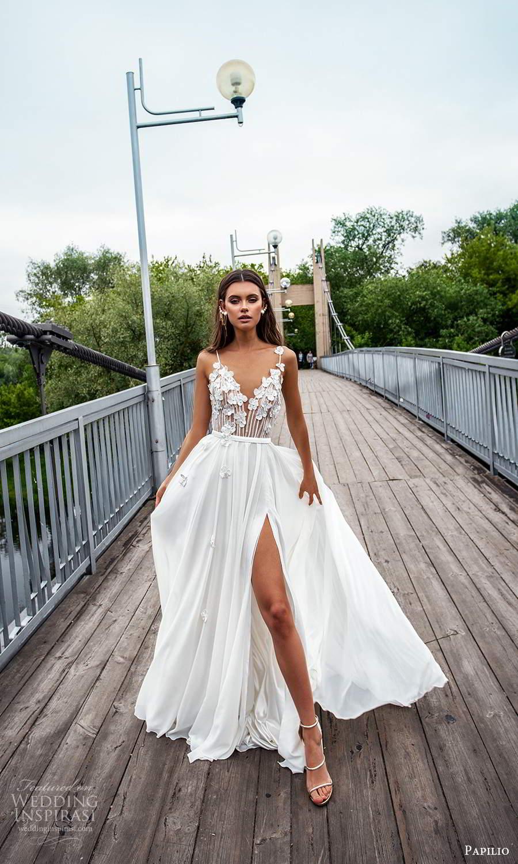 papili 2020 freedom bridal sleeveless thin straps v neckline embellished bodice a line ball gown wedding dress chapel train (16) mv
