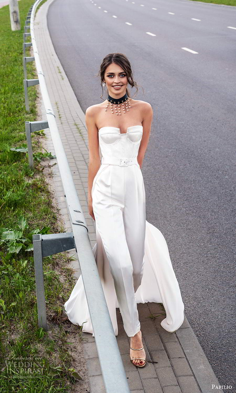 papili 2020 freedom bridal strapless sweetheart jumpsuit wedding dress a line overskirt (11) mv