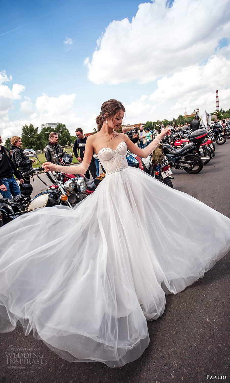papili 2020 freedom bridal strapless sweetheart neckline ruche corset bodice a line ball gown wedding dress (12) mv