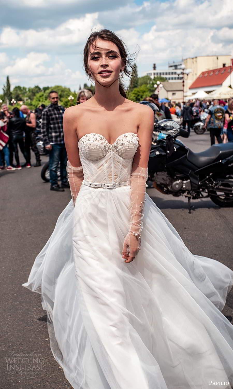 papili 2020 freedom bridal strapless sweetheart neckline ruche corset bodice a line ball gown wedding dress (12) zv