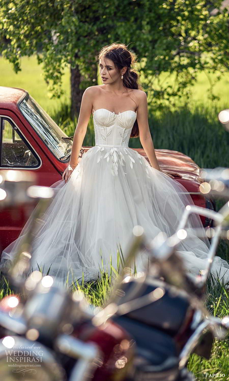 papili 2020 freedom bridal strapless sweetheart necklnie embellished bodice a line ball gown wedding dress (7) mv