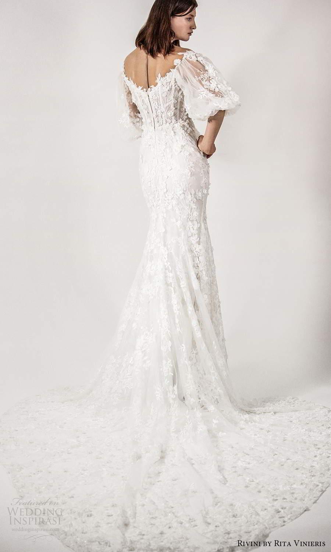 rivini rita vinieris spring 2021 bridal elbow length bishop sleeves sheer off shoulder sweetheart neckline fully embellished fit flare a line wedding dress (2) bv